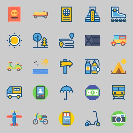 icons set about Travel. with park, sun, van, scooter, motorbike and umbrella