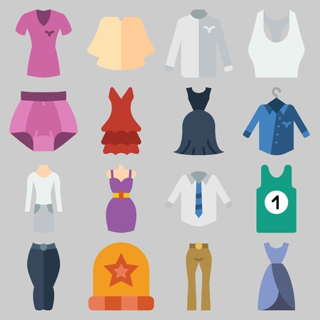 Icon set about Women Clothes with keywords shirt, dress, sleeveless, winter hat, suit and tank top Illustration