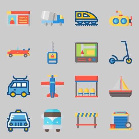 Icons set about Transportation. with scooter, gps and garage