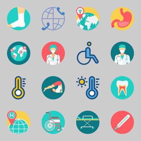 Icons set about Medical. with stretcher, surgeon and sprain Illustration