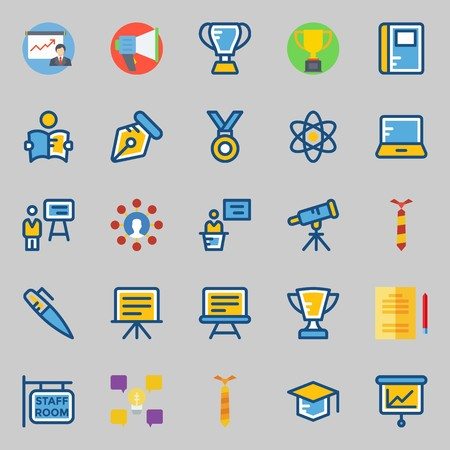 Icons set about School And Education. with megaphone, presentation, mortarboard, trophy, telescope and notebook