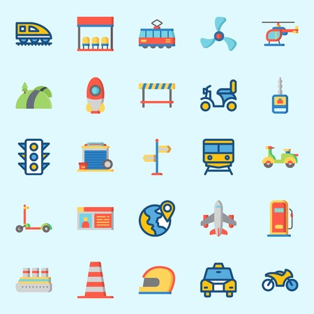 Icons set about Transportation. with plane, train, bus stop, propeller, cone and traffic light