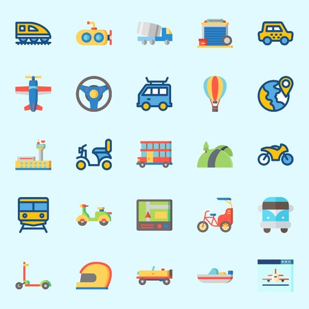 Icons set about Transportation with boat, hot air balloon, scooter, car, submarine and helmet