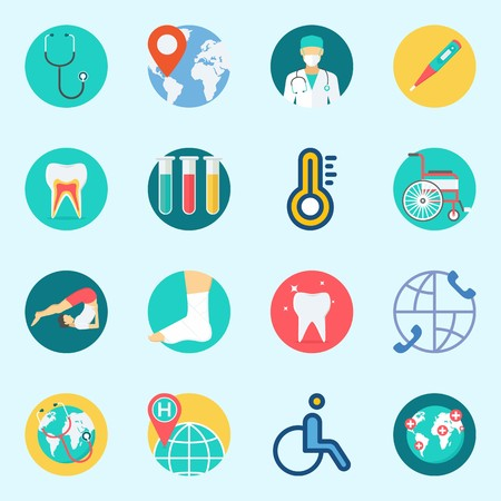 Icons set about Medical with wheelchair, thermometer, stethoscope, sprain, test tubes and tooth Illustration