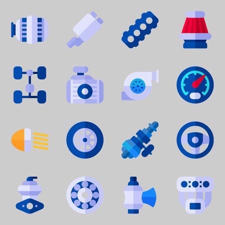 Icons set about Car Engine with air filter, distribution, sreering wheel, valve, car lights and wheel Illustration