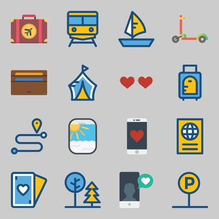 Icons set about Travel with sailboat, wallet and location