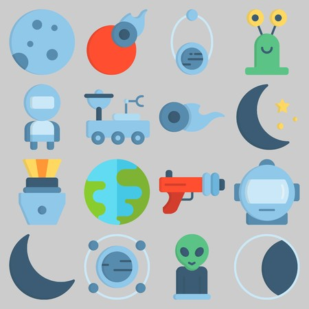 Icon set about Universe with keywords moon, planet, capsule, astronaut and earth Illustration