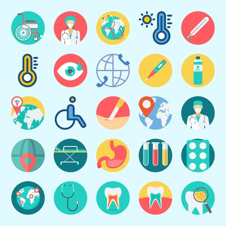 Icons set about Medical with worldwide, tablets, stretcher, stethoscope, test tubes and location Illustration