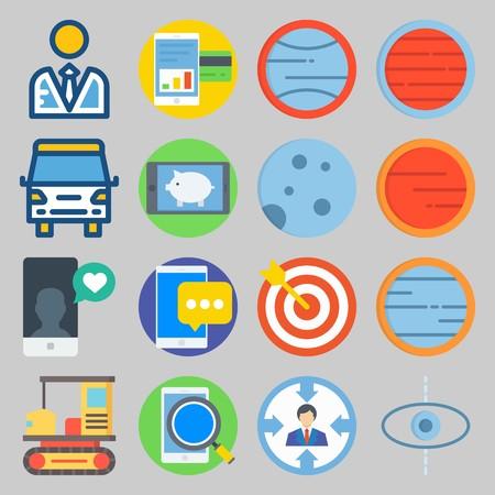 Conjunto de iconos sobre transporte con búsqueda, notificación y luna