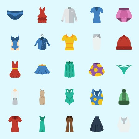 Icons set about Women Clothes with skirt, winter hat, pants, suit, dress and shirt