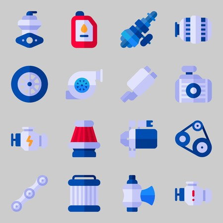 Icons set about Car Engine with belt, engine, exhaust pipe, radiator, wheel and air filter
