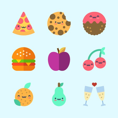 Icons about Food with cherry, orange, apple, hamburger, pizza and pear