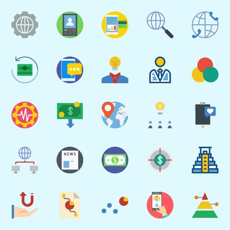 Icons set about Marketing with settings, networking, pyramid, money, worldwide and user