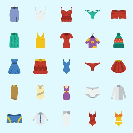 Icons set about Women Clothes with thong, sleeveless, winter hat, panties, skirt and swimsuit Illustration