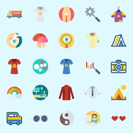 Icons set about Hippies with rainbow, pills, photo camera, patient, orhthalmology and search