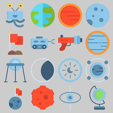 Icon set about Universe with keywords astrology, orbit, moon, meteorite, blaster and flag