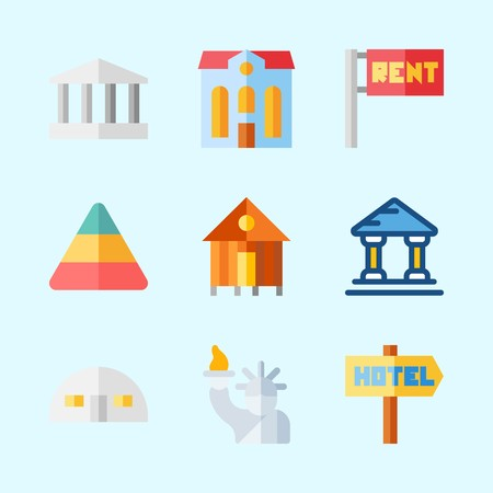Icons about Construction with statue of liberty, store house, rent, monumental, museum and hotel