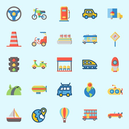 Icons set about Transportation with double decker, rocket, road sing, location, truck and submarine Ilustração
