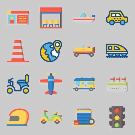 Icons set about Transportation with garage, location and plane