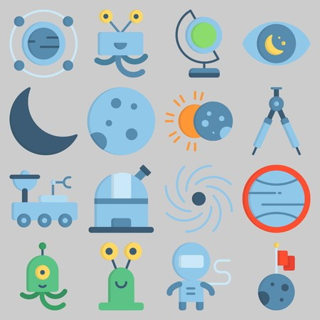 Icon set about Universe with keywords moon, orbit, moon, uran, astronaut and observation