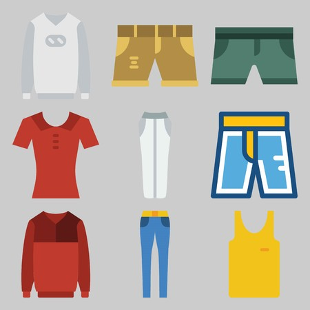 Icons set about Man Clothes.