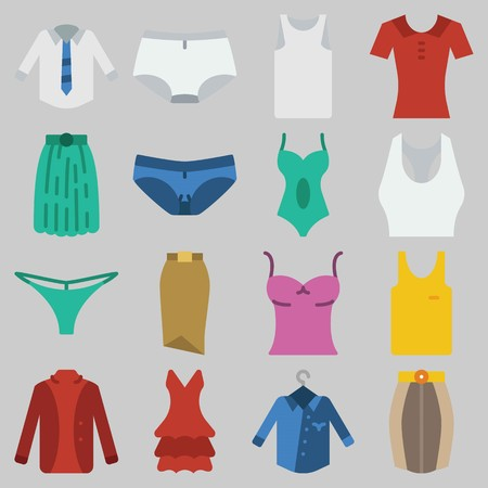Icon set about Women Clothes with keywords tank top, sleeveless, thong, panties, swimsuit and shirt