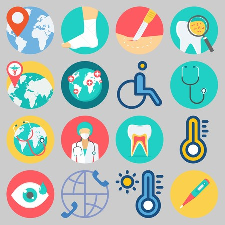 Icon set about Medical with keywords surgeon, teeth, wheelchair, worldwide, visibility and thermometer Illustration