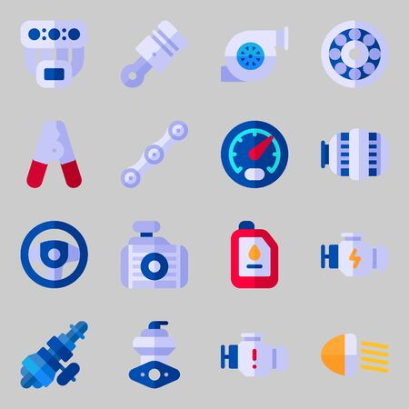 Icons set about Car Engine. with pilers, sreering wheel, piston, gauge, car lights and wheel