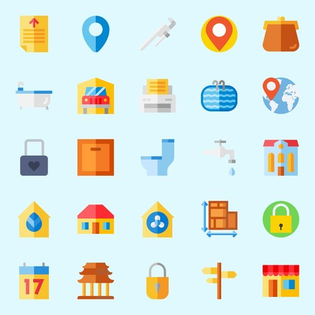Icons set about Real Assets. with padlock, text file, religious, hotel, location and worldwide