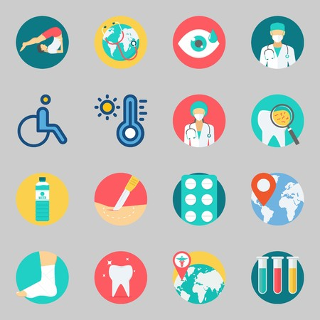 Icons set about Medical. with wheelchair, surgery and location