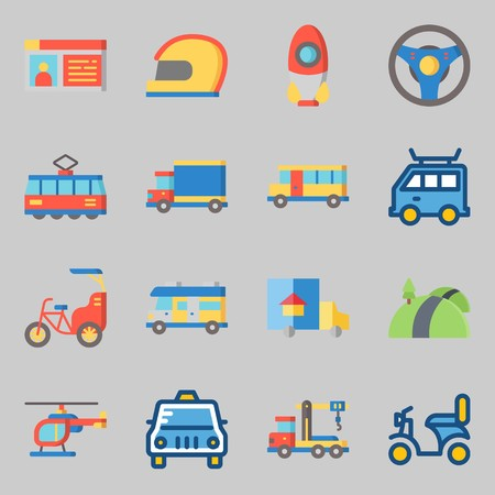 Icons set about Transportation with van, helicopter and bus