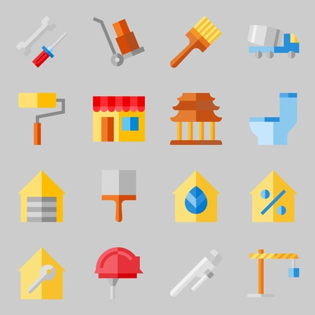 Icons set about Real Assets with work tools, winch and mechanics Illustration