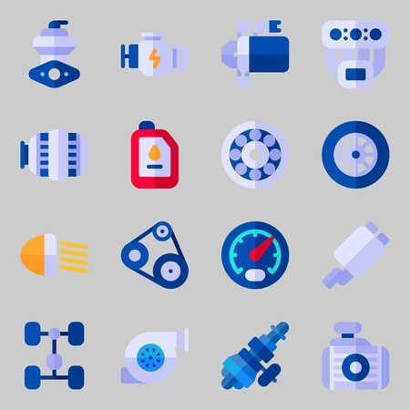 Icons set about Car Engine with radiator, engine, chassis, exhaust pipe, motor and oil
