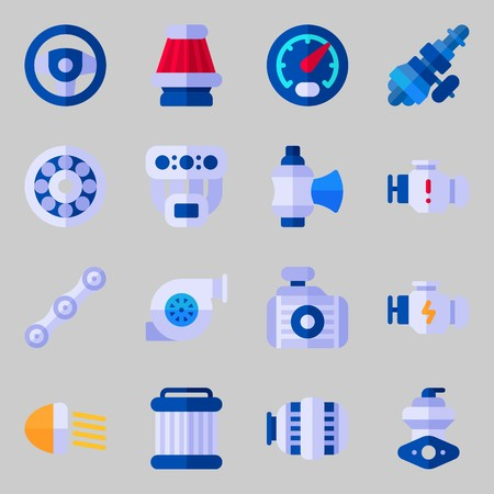 Icons set about Car Engine with wheel, motor and air filter