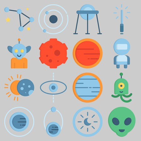 Icon set about Universe with keywords astronaut, eclipse, alien, meteorite, orbit and lightsaber Illustration