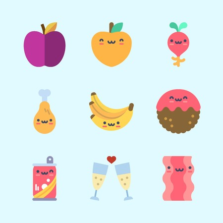 Icons about Food with bananas, meatball, apple, bacon, radish and chicken leg