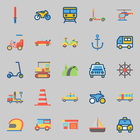icons set about Transportation with stick, bike, motorbike, car, cone and driving license Ilustracja