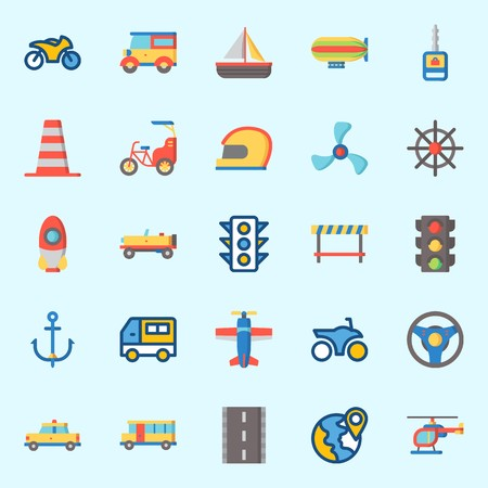 Icons set about Transportation with bus, taxi, car, helicopter, road block and location