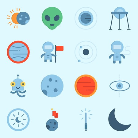 icons set about Universe. with astrology, mars, planet, eclipse, lightsaber and orbit