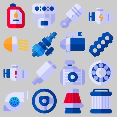 Icon set over automotor met trefwoorden uitlaatpijp, distributie, radiator, sreering wiel, motor en katrol