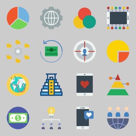 Icons set about Marketing with pyramid, teamwork and money