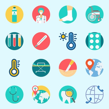 Icons set about Medical. with surgeon, sprain, test tubes, location, stretcher and tablets