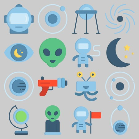 Icon set about Universe with keywords moon, observation, orbit, astronaut, alien and capsule