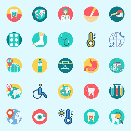 Icons set about Medical with sprain, stomach, thermometer, worldwide, test tubes and water Illustration