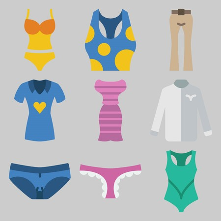Icon set about Women Clothes with keywords tank top, shirt, panties, dress, swimsuit and trousers