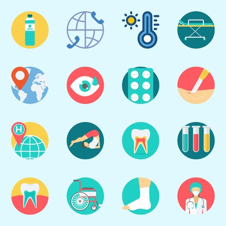 Icons set about Medical with visibility, surgeon, stretcher, thermometer, teeth and wheelchair