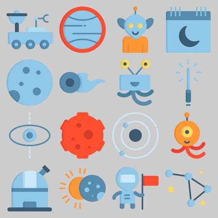 Icon set about Universe with keywords eclipse, alien, uran, observatory, lightsaber and comet Illustration