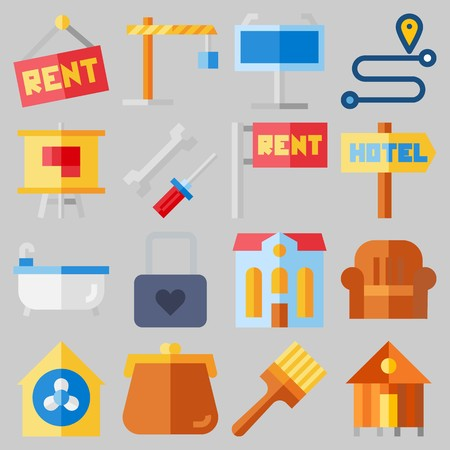 Icon set about Real Assets with keywords purses, location, mechanics, sit down, for rent and rent
