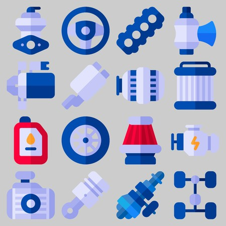 Icon set about Car Engine with keywords piston, engine, oil, sreering wheel, distribution and valve