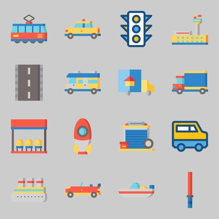 Icons set about Transportation with tram, cruise ship and boat Ilustracja